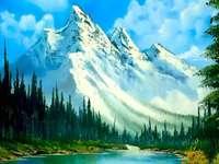 Gemalte Landschaft.