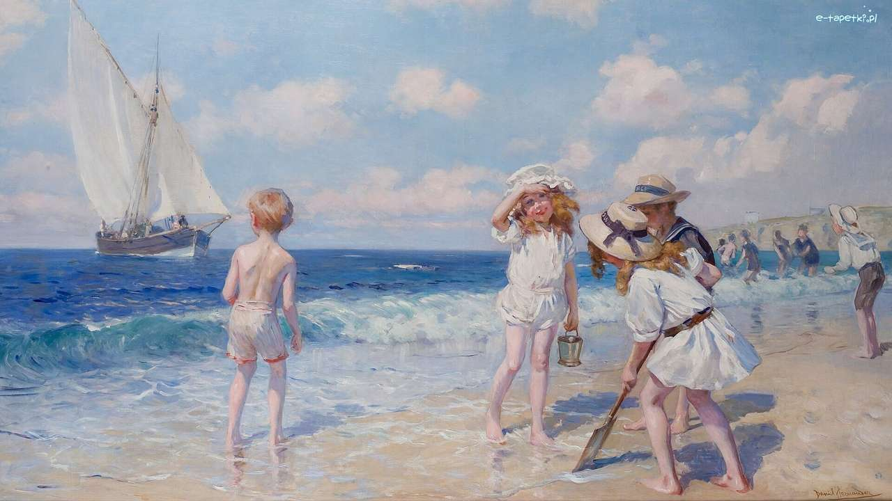 reproduction of the picture- children on the beach