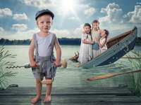 image reproduction - children, lake