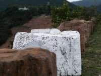 weißer Betonstein auf grüner Wiese während des Tages
