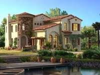 dům, rybník
