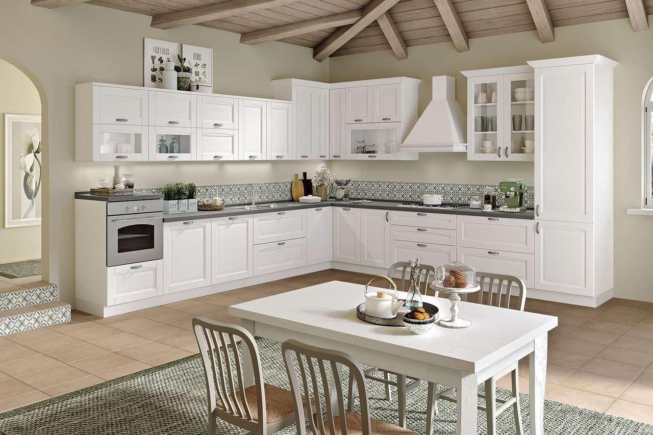 moderne keuken - moderne keuken met tafel en vier stoelen (12×8)