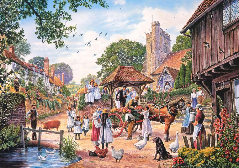 Um casamento no campo - Casamento, vila, pessoas, casal de noivos (12×9)