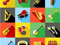 The musical instruments.