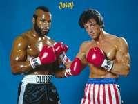 Rocky posiert mit seinem Rivalen