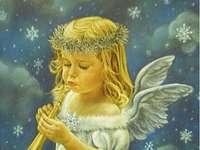 andělíček hraje na trumpetu