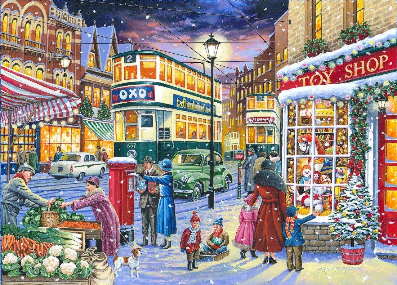 Zima ve městě - Zima ve městě, lidé, auto (12×9)