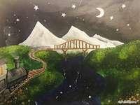 paisaje nocturno de cuento de hadas