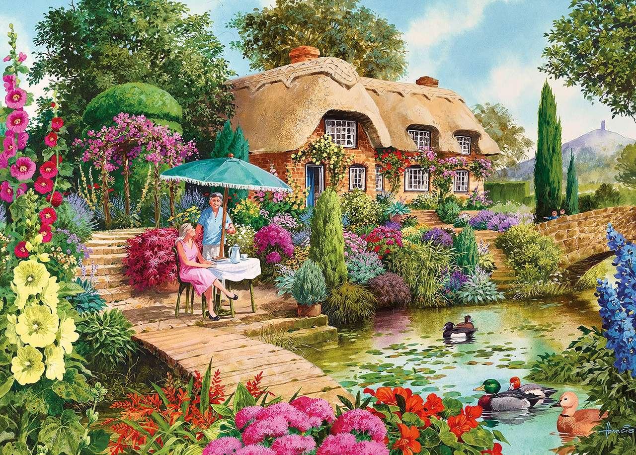 Jardín de verano - Jardín de verano, casa, gente (12×9)