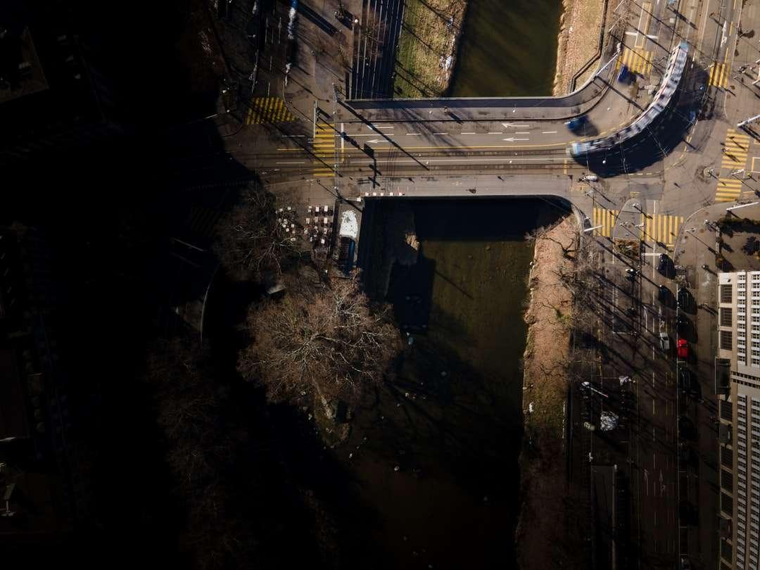 foto in scala di grigi di un fiume nel mezzo di una foresta - Gessnerbrücke a Zürich con un tram che prende la curva. Gessnerbrücke, Zurigo, Schweiz (14×11)