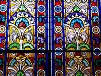 Pilsen målat glasfönster Synagoga Tjeckien