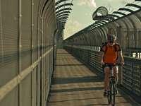 man i orange skjorta ridcykel på bron under dagtid