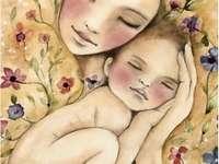 Krásné foto, máma a miminko