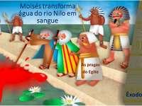 Mojžíš mění vodu z řeky Nilu na krev