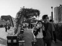 gråskalefoto av kvinna och man som står nära träd