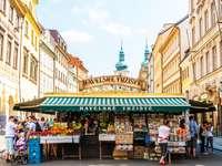 Prague market stalls Czech Republic