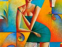 Frau zwischen den Farben