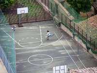 Frau im weißen Hemd sitzt auf Basketballplatz