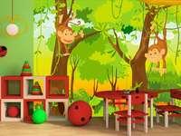 maimuțe pe copac - pictură murală
