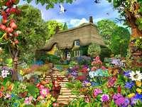 En el jardín.