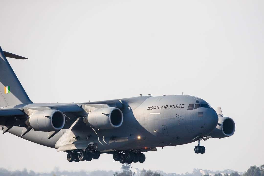 gray airplane under white sky during daytime - aeroindia iaf indianairforce (12×8)