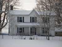 бяла и сива дървена къща близо до голи дървета през деня