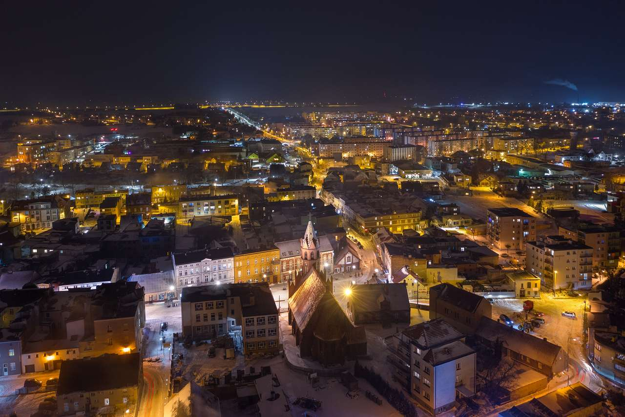 Żnin's panorama by night - Żnin from a bird's eye view - a night view of the city (12×8)