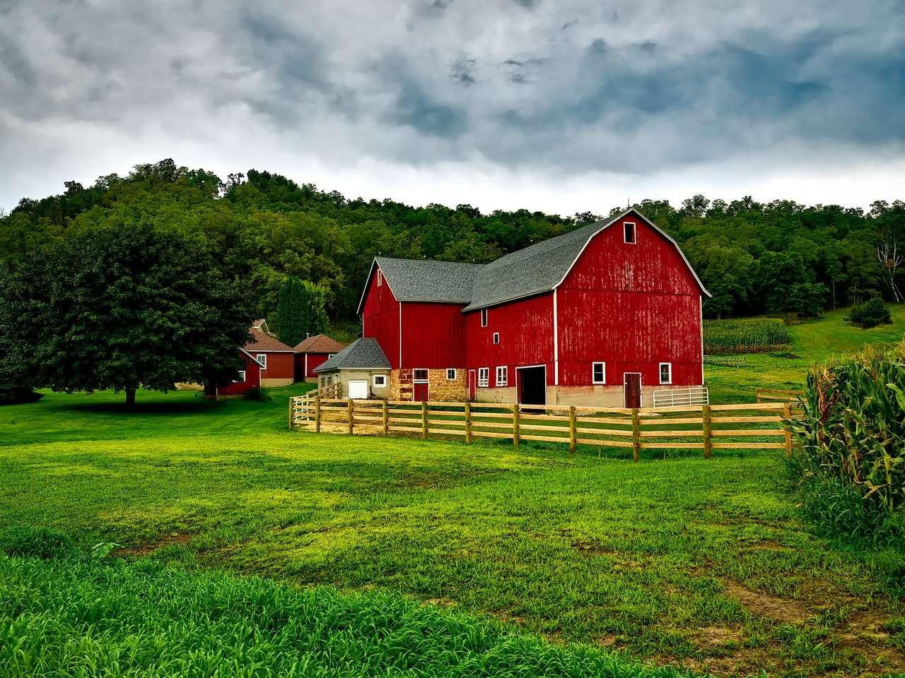 piros ház - Piros ház a zöld mező közepén (19×15)