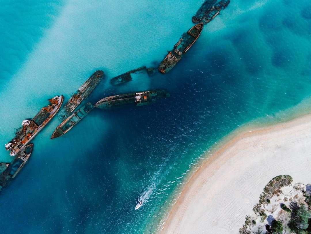 vista aerea della barca sul mare durante il giorno - Isola di Moreton, Queensland, Australie (18×14)