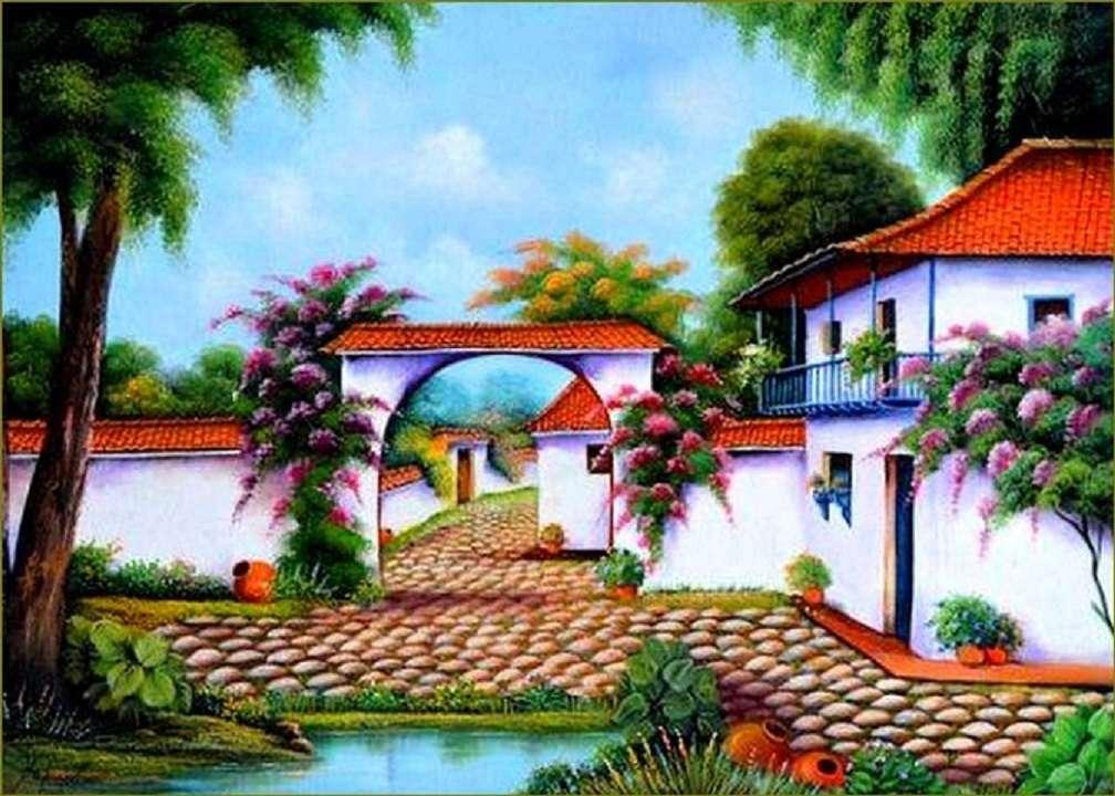 Селски пейзаж - Пейзаж пъзел (12×9)