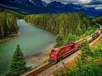 Mountains, River, Train, Woods- Canada