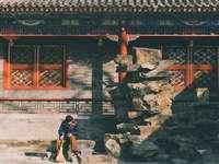 femeie în jachetă neagră în picioare lângă ușa maro din lemn