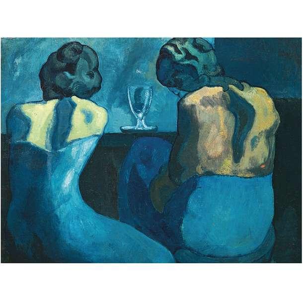 Pierreuses au bar (1902) от Пабло Пикасо - син период, Две жени, изтощени, свалени от бърз ден на строителните обекти (произход на думата каменист) (11×11)