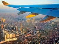 ala de avión azul y blanco sobre edificios de la ciudad