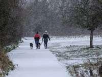 2 személy napközben havas mezőn sétál