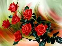 картина- червени рози