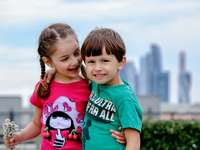 2 girls in green crew neck t-shirt