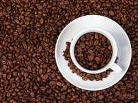 barna kávébab fehér kerámia bögre