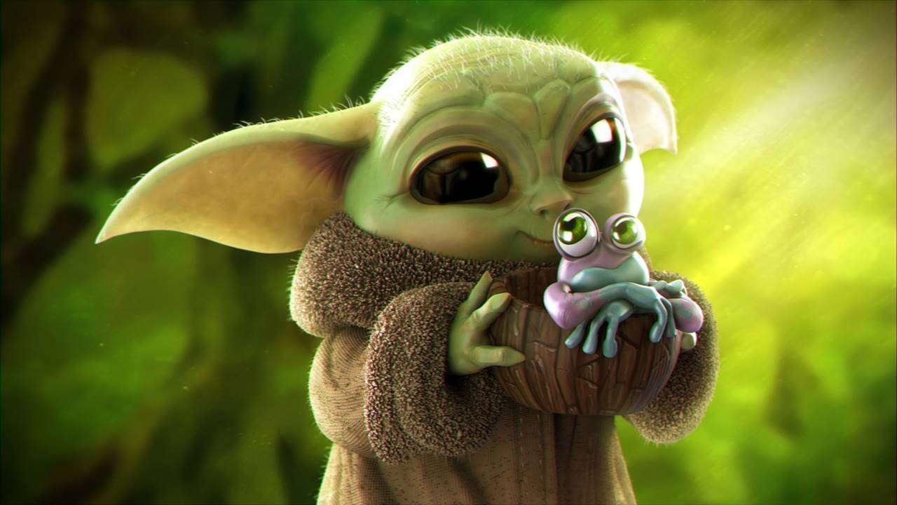 baby yoda - kochane żabki mam na imię baby yoda i ja lubie was jeść (10×6)