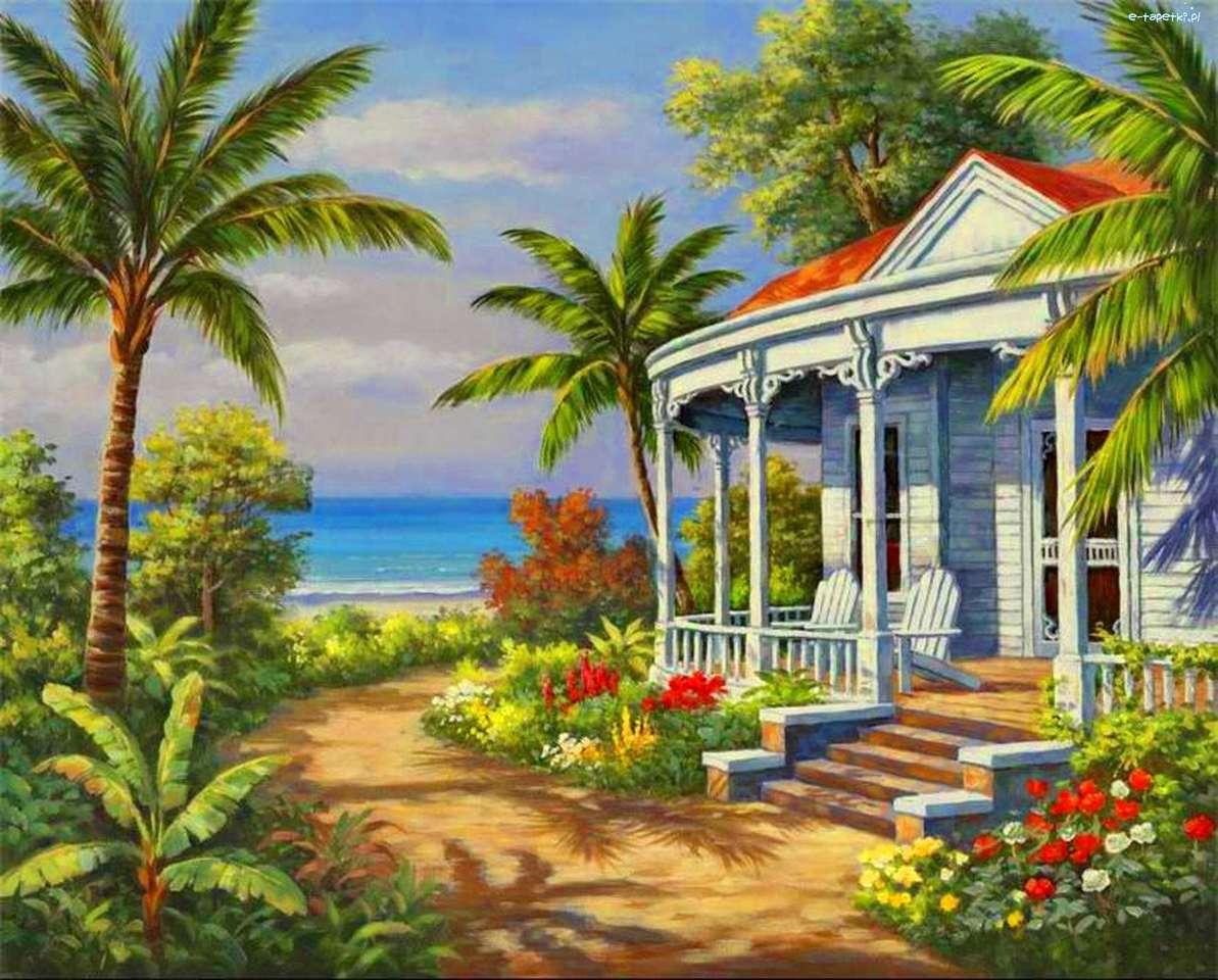 dom, morze, palmy - m (12×10)