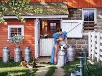 obraz- kobieta na wsi