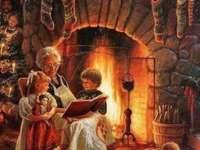 babička čte dětem pohádky