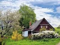 Polnisches Dorf im Frühjahr