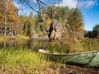 brązowy kajak na zielonej trawie w pobliżu jeziora w ciągu dnia