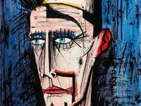 Bernard Buffet, Clown with a blue background