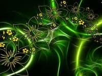 technika- zelené květy