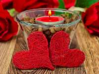 Candle, Hearts, Roses,