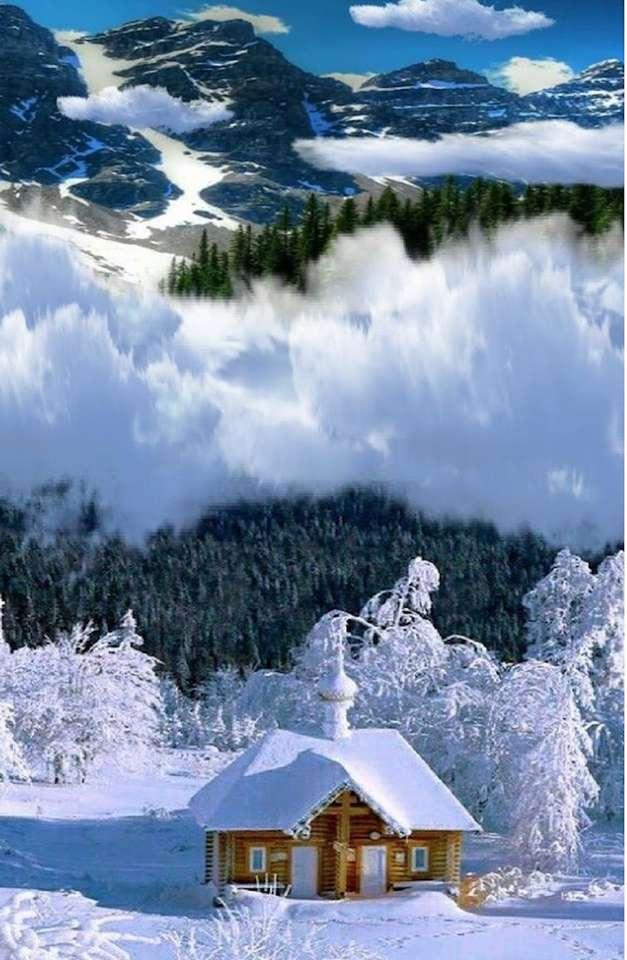 chaloupka uprostřed hor (13×20)