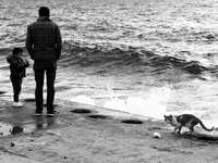 мъж в черно-бяла карирана риза, стояща на брега
