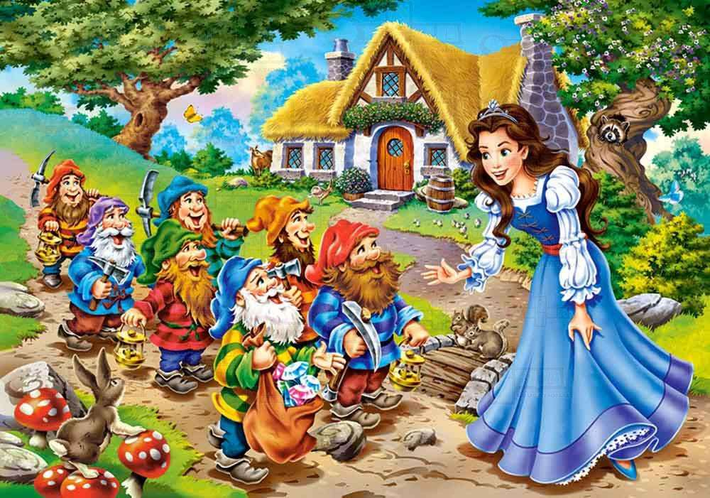 Puzzle poveste - Puzzle din povestea Alba ca zapada si cei sapte pitici (4×3)